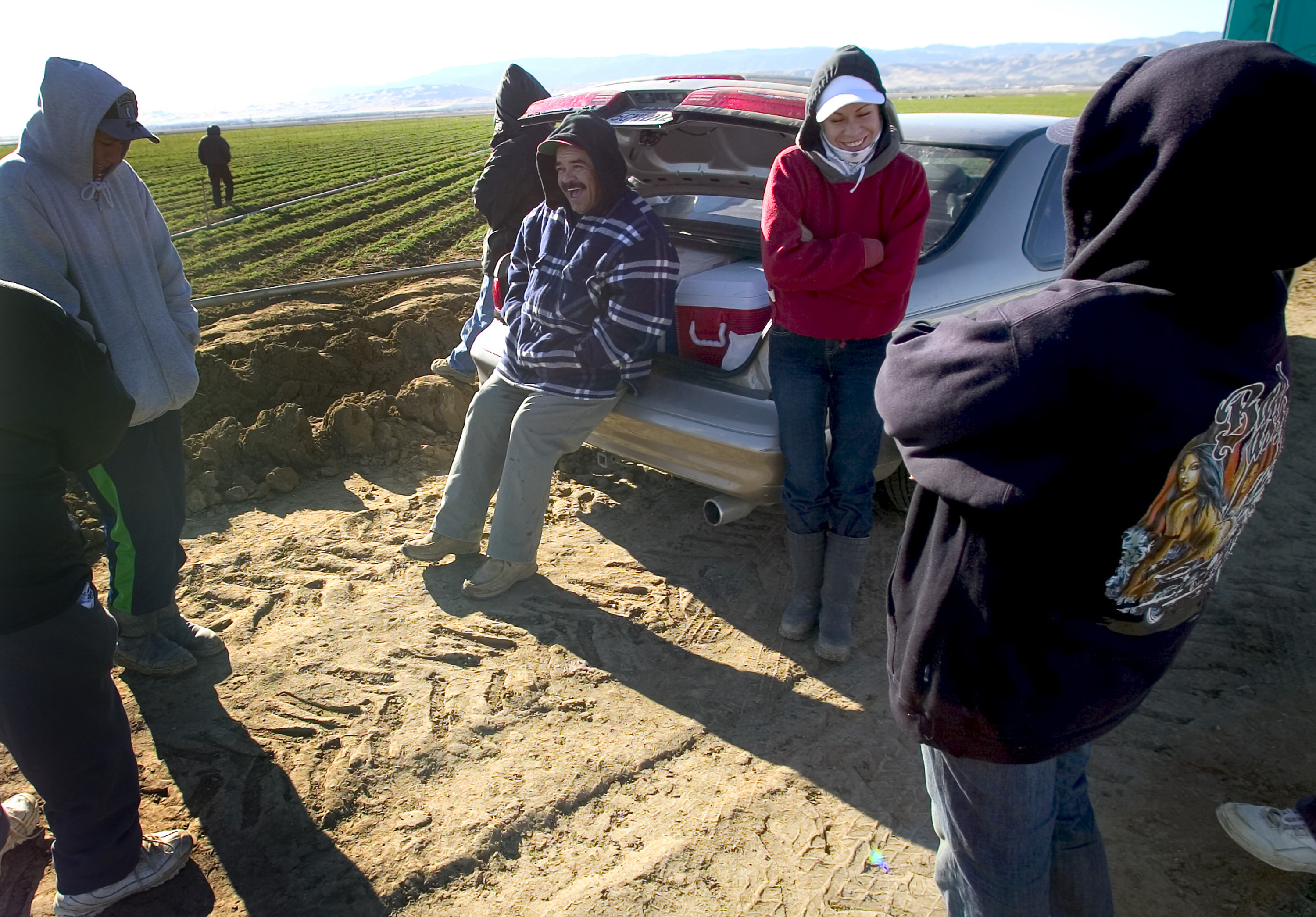 Farmworkers wait next to a carrot field near Coalinga, California. The morning frost made it impossible to tend to the carrots until the sun warmed the soil. 2007